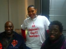 RAGE President, Aysha Butler and RAGE members Michael Johnson and Alieon Brooks at WBEZ Englewood studio