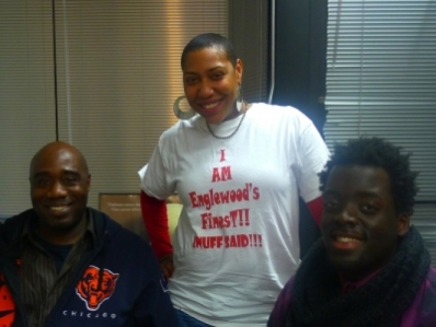 RAGE President, Aysha Butler and RAGE members Michael Johnson and Alieon Brooks at WBEZ Englewood studio