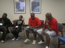 RAGE members Emmanuel and Antoine speaking to the youth in Englewood