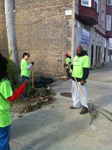 RAGE members Antoine Butler and Teresa Gonzales at Greater Englewood Clean Up Day