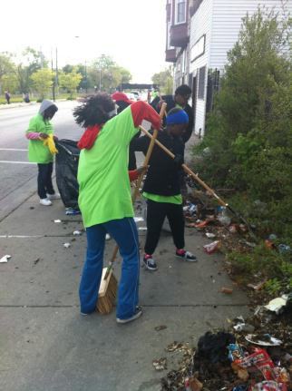 RAGE student club members at Greater Englewood Clean Up Day