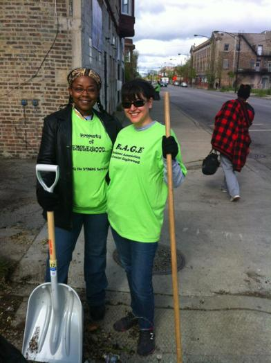 RAGE Members Sonya Harper and Teresa Gonzalez at Greater Englewood Clean Up Day