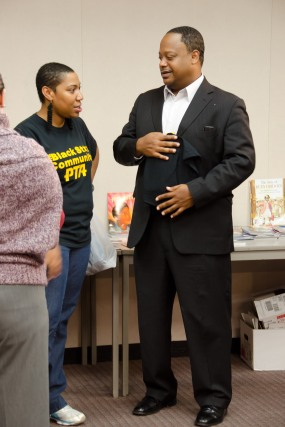 RAGE President, Aysha Butler and Ald. Sawyer of 6th Ward at Real Men Read event
