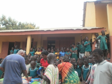 Donating supplies to the Abira School