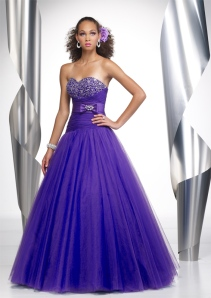 Purple ball gown prom dresses
